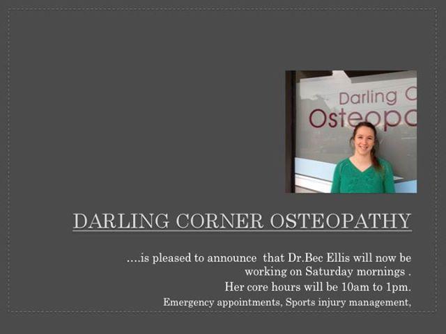 Darling Corner Osteopathy - Dr Bec Ellis Working Hours